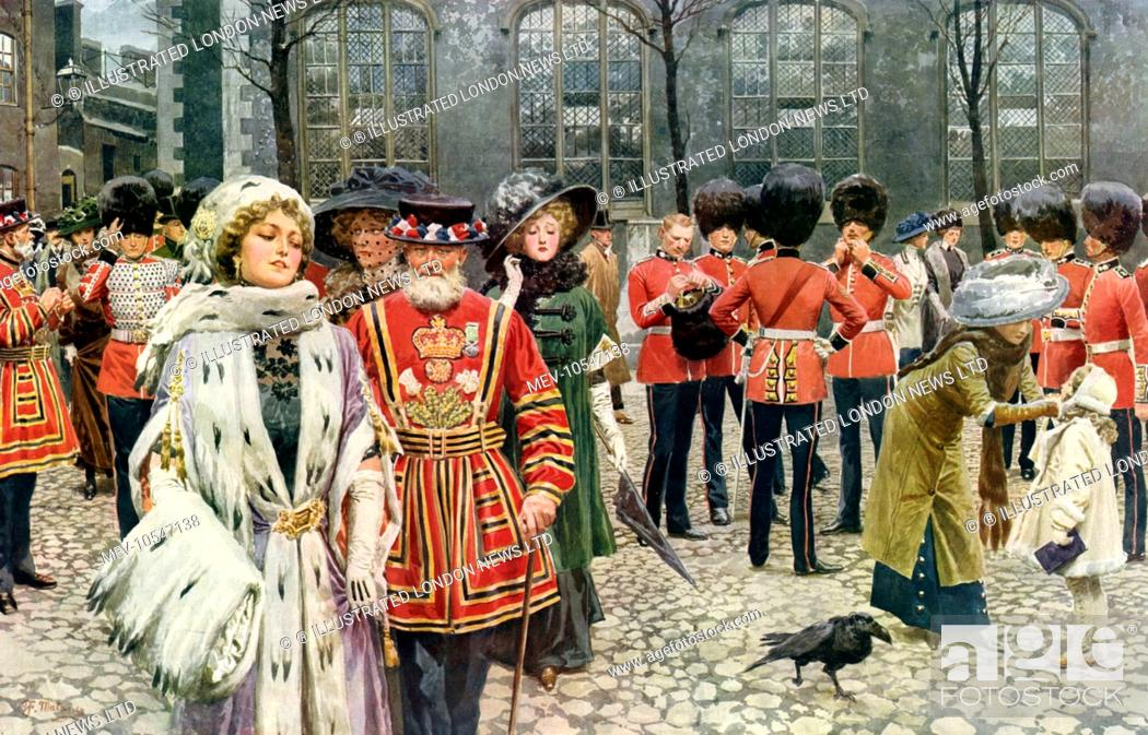 Stock Photo: A Christmas Morning service at St. Peter's Church in the Tower of London in 1911, attended by well-dressed ladies, Yeoman of the Guard (beefeaters) and guards.