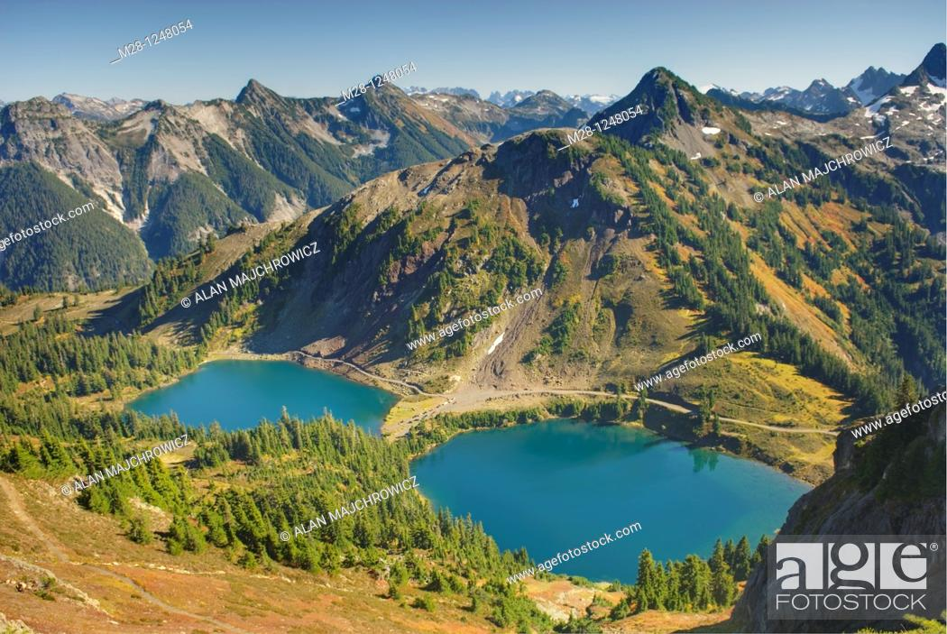 Stock Photo: Twin lakes Mount Baker Wilderness Washington.