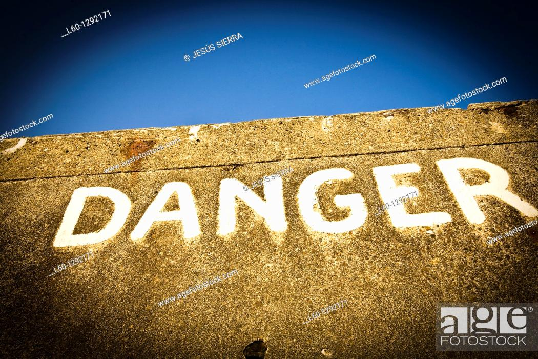 Stock Photo: Danger, Mulberry, Day-D, Arromanches, Normandy, France.