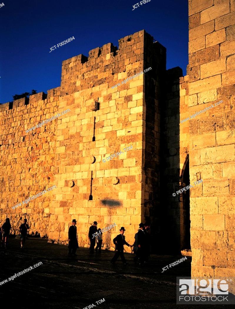 Stock Photo: Israel, Jerusalem, old city walls.