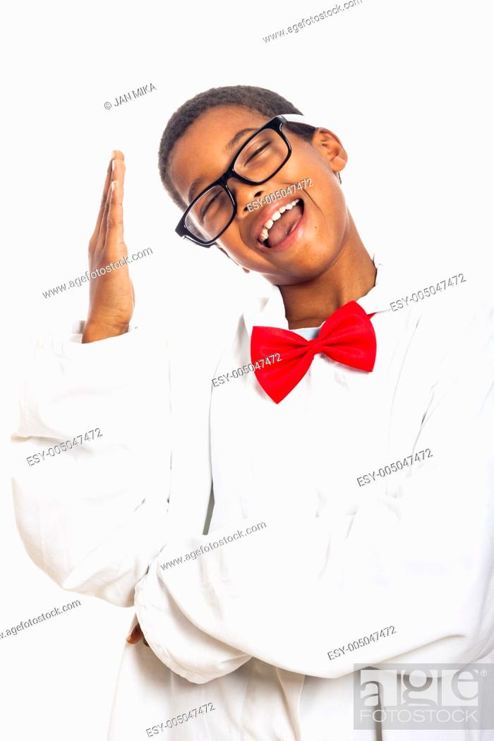 Stock Photo: Funny clever scientist school boy gesturing, isolated on white background.