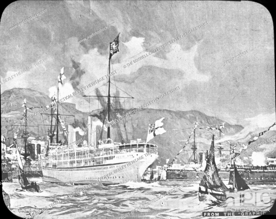 Stock Photo: Tour of the Colonies - Gibraltar Arrival - Ships arriving , flags flying , surrounded by other ships. Part of Box 246 Boswell collection - Tour of the Colonies.