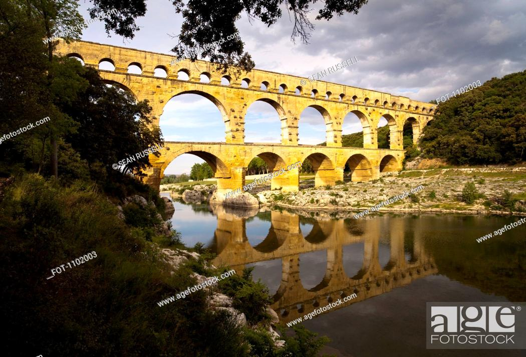 Stock Photo: The Pont Du Gard aqueduct in France.