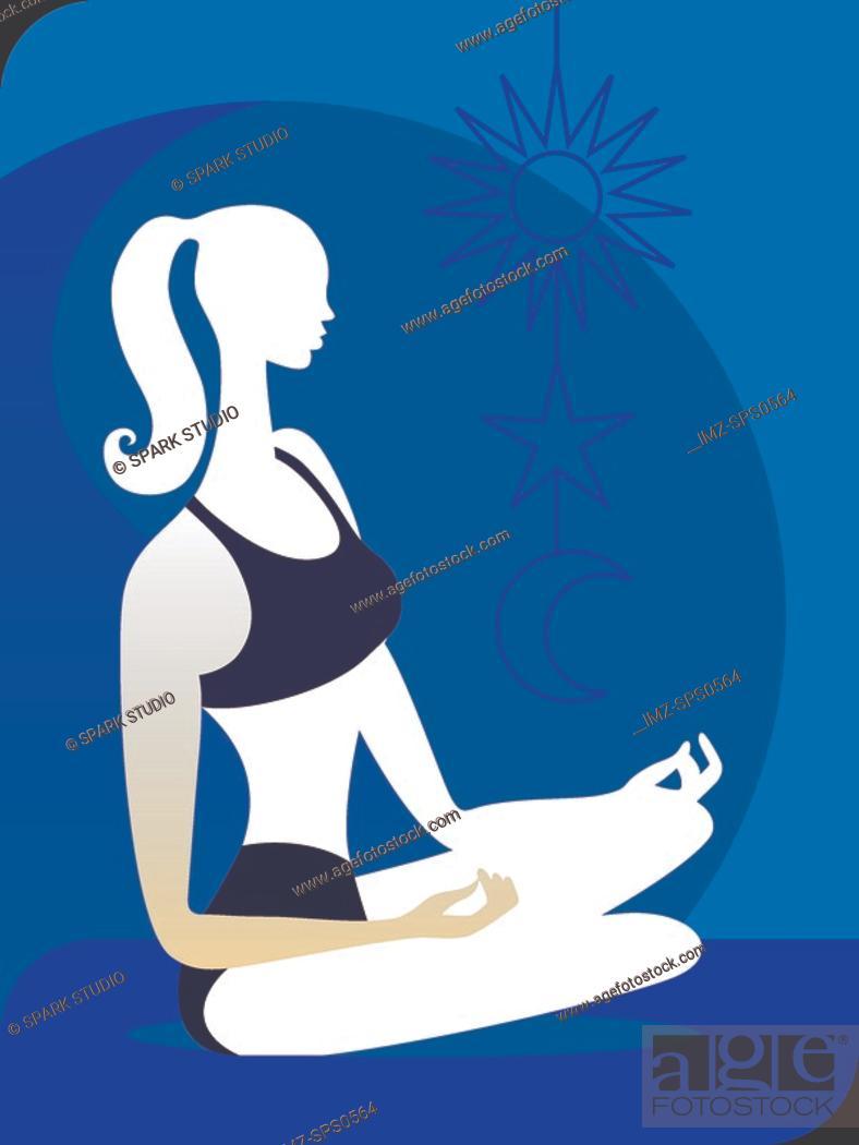 Stock Photo: A woman meditating.
