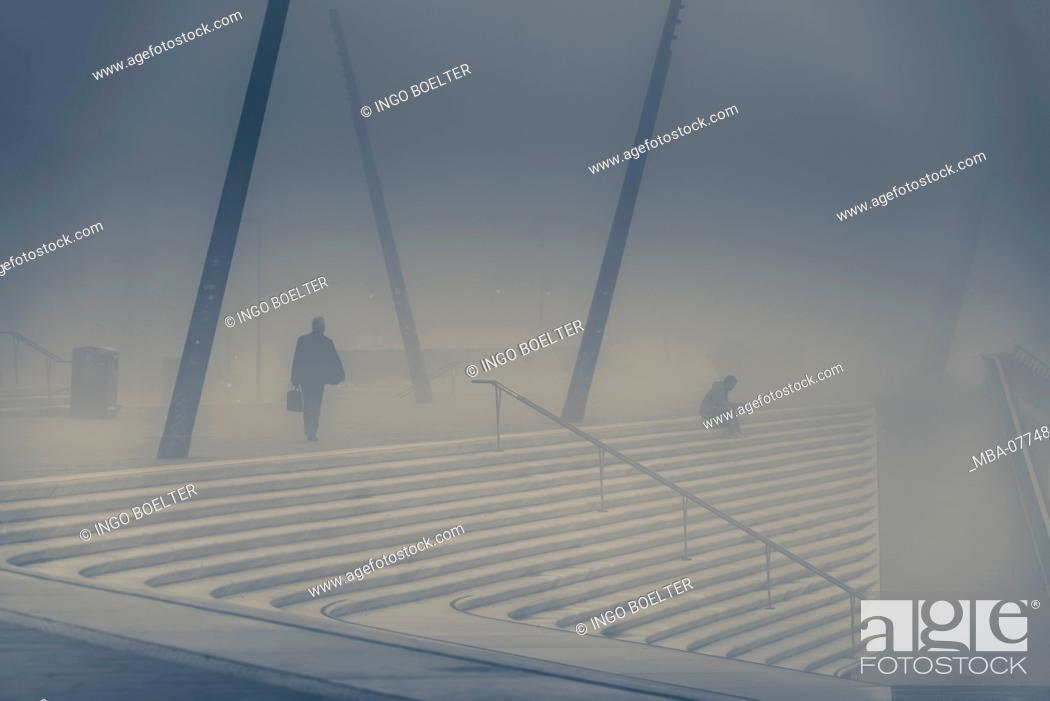 Stock Photo: Germany, Hamburg, the Elbe, harbour, St. Pauli, promenade, landing stages.