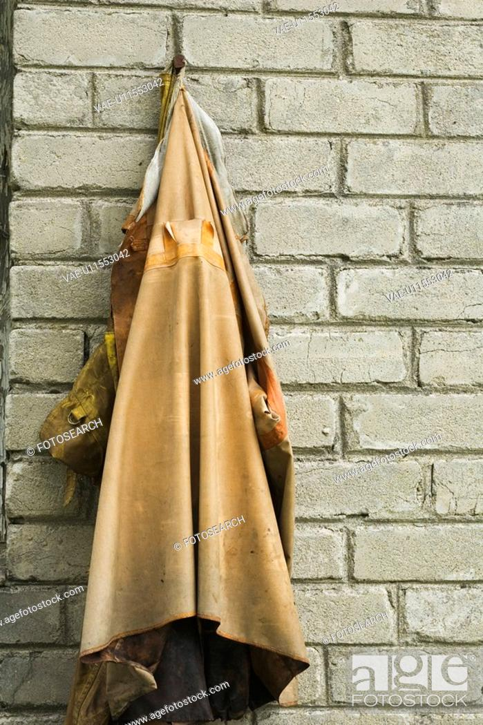 Stock Photo: Brick Wall, Close-Up, Day, Discolored, Hanger.