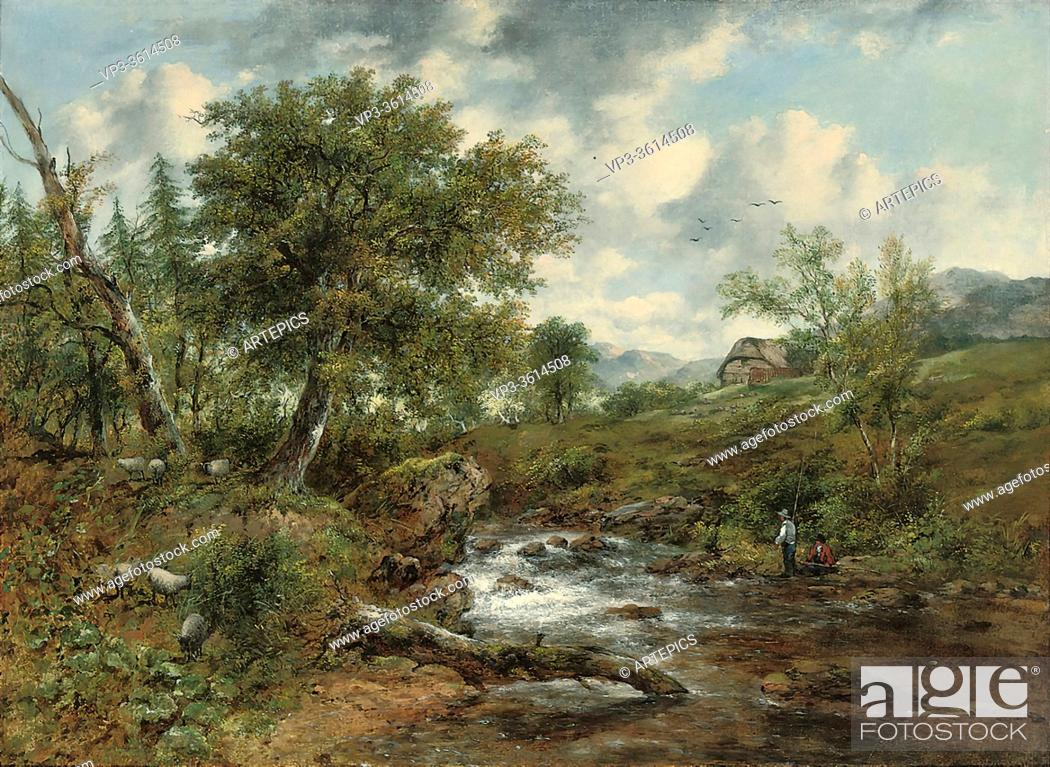 Imagen: Watts Frederick Waters - a Wooded River Landscape with Fishermen and Sheep a Cottage Beyond - British School - 19th Century.