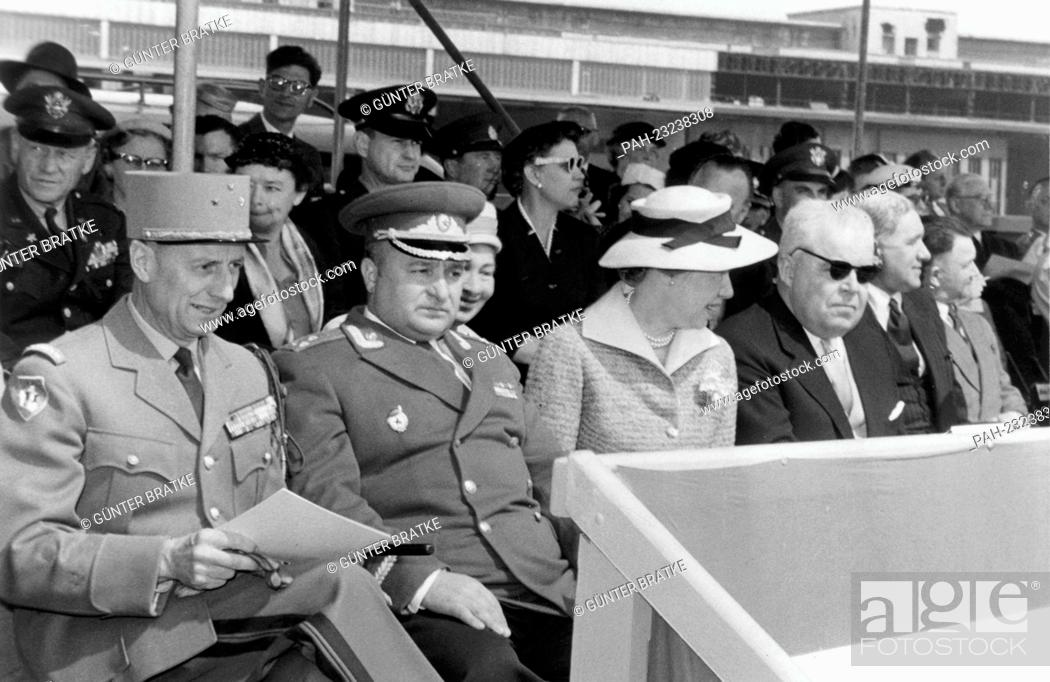 Stock Photo: (L-r) French town major General Geze, assistent Soviet town major Colonel Kotsiuba, and assistant head of the Berlin US mission Bernard Gufler (with sunglasses).