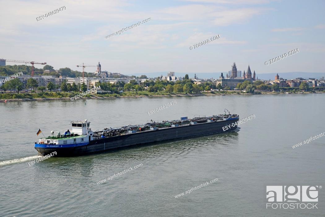Stock Photo: lastkahn, kahn, frachtschiff, schiff, Mainz,transport, fluss, stadt, rheinland-pfalz, deutschland, brd, transportschiff.