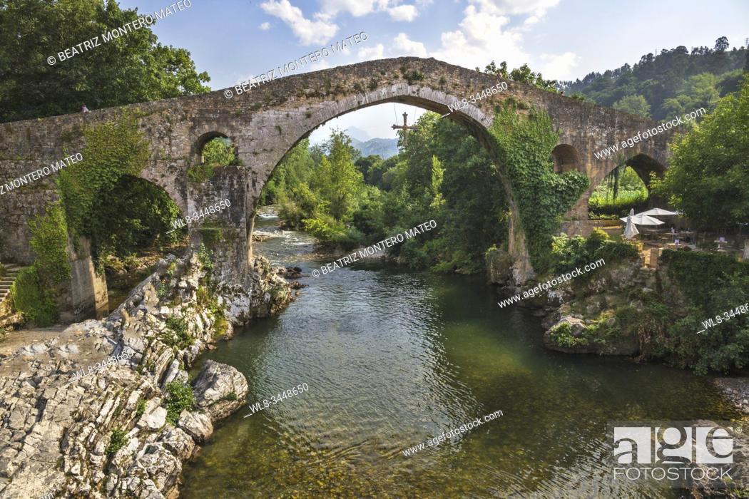 Stock Photo: Roman bridge of Cangas de Onís in Asturias (Spain).
