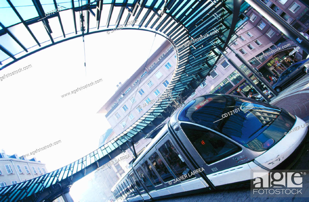 Stock Photo: Tram at Place de l'Homme de Fer. Strasbourg. France.