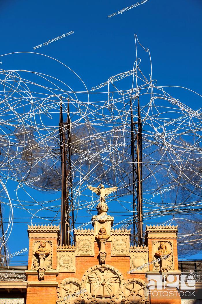 Stock Photo: Fundació Antoni Tapies,detail of facade,sculpture 'Cloud and chair', Carrer Arago 255. Barcelona, Spain.