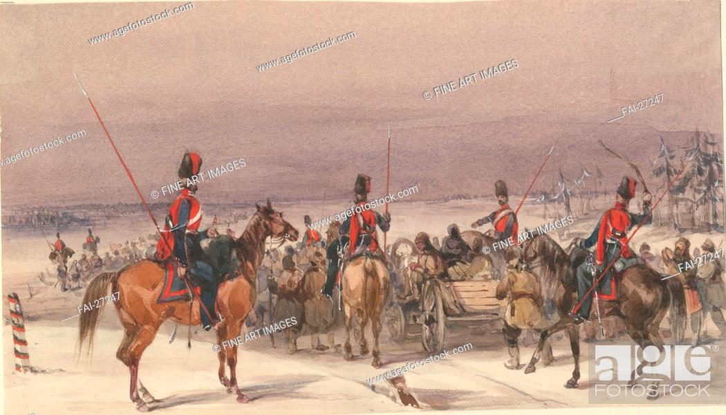 Stock Photo: Cossacks convoying deportees by Anonymous /Watercolour on paper/History painting/1831/France/Private Collection/13, 9x24.