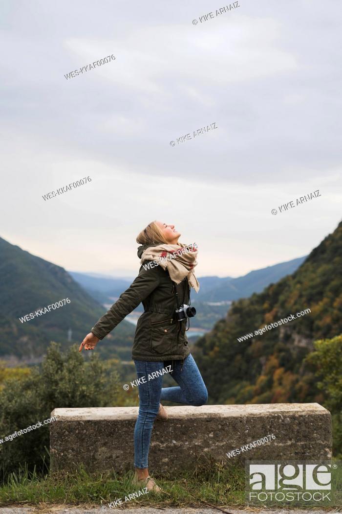 Stock Photo: Young woman enjoying the nature.