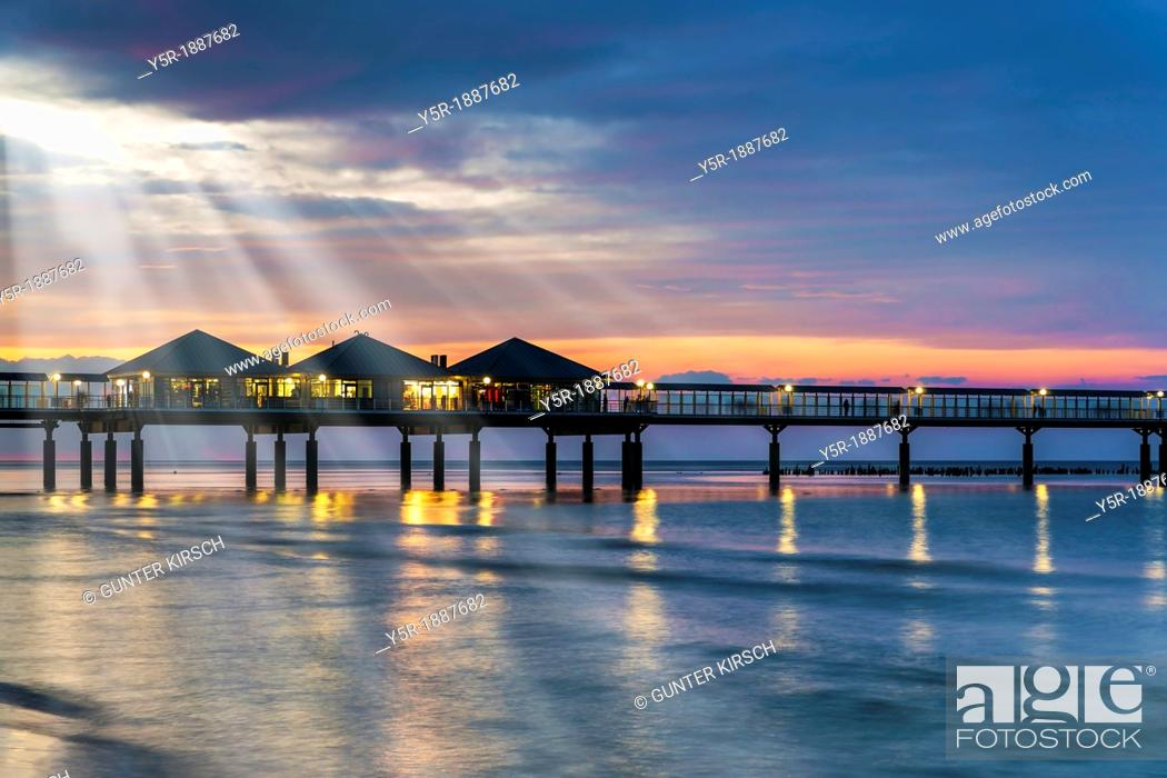 Stock Photo: The Heringsdorf Pier is a pier at the Baltic Sea The pier is 508 meters long It was built in 1995, Heringsdorf, Usedom Island, County Vorpommern-Greifswald.