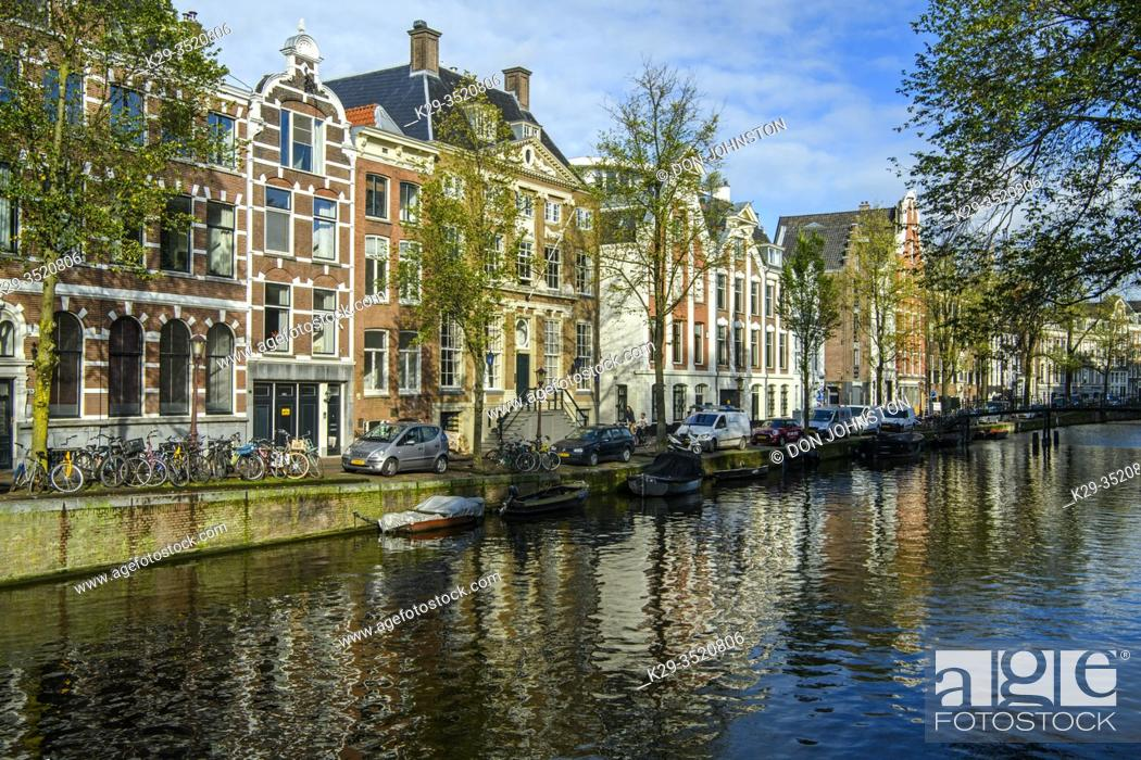 Stock Photo: Canal reflections, Amsterdam, North Holland, Netherlands.