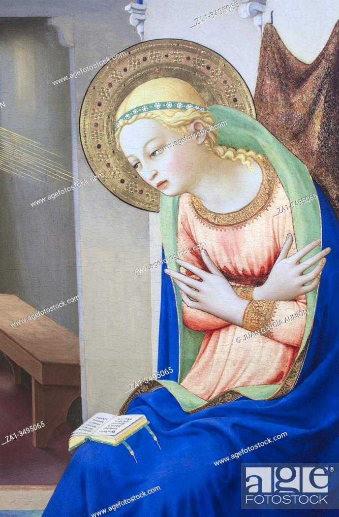 Imagen: The Annunciation. Detail of The Virgin. Painted by Fra Angelico, . Museo del Prado, Madrid.