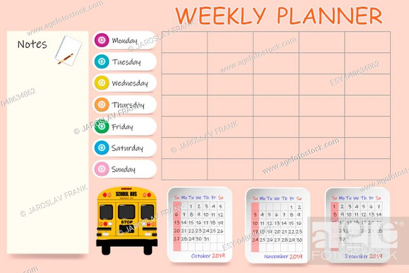 Stock Photo: School calendar for the fourth quarter of 2019 and blank weekly planner on light orange background.