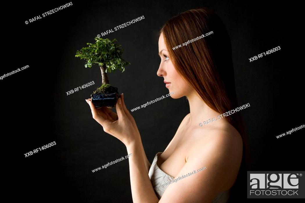 Stock Photo: beauty woman with bonsai tree.