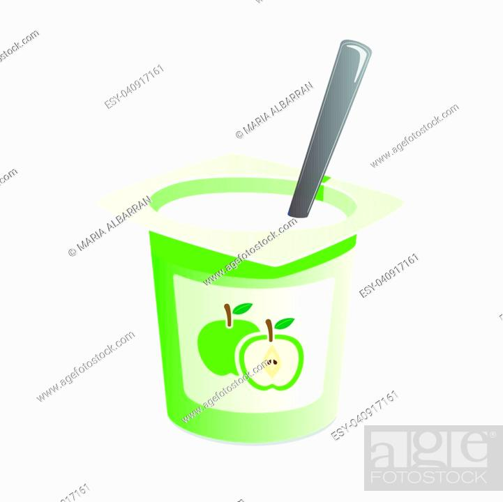 Vector: Apple yogurt with spoon inside on white background.