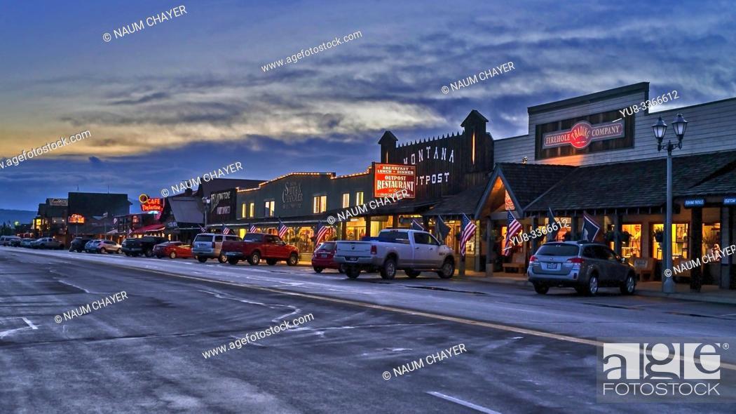 Stock Photo: West Yellowstone at evening, , southern Montana, USA.