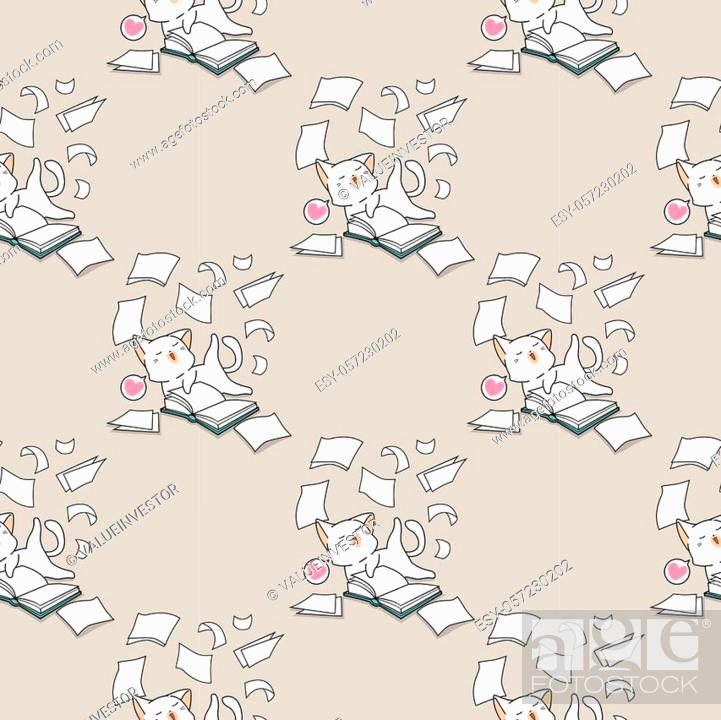 Stock Vector: Seamless kawaii cat is having fun with a book pattern.