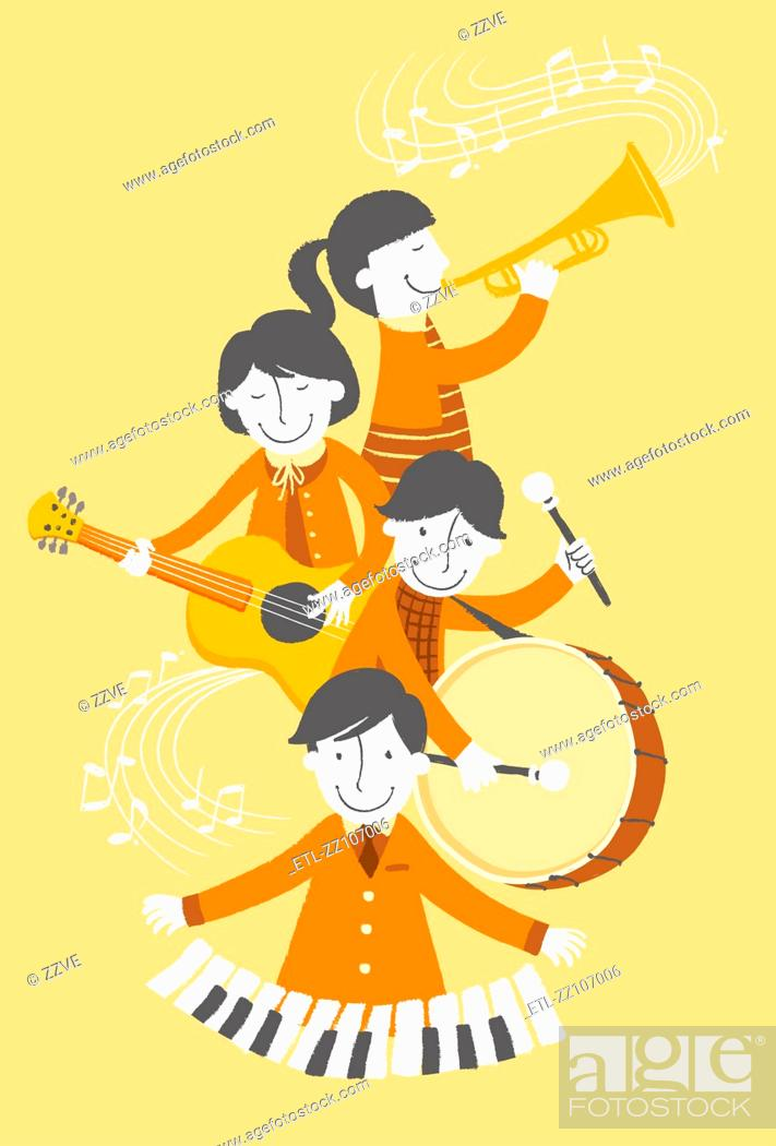 Stock Photo: Group of people playing musical instrument.