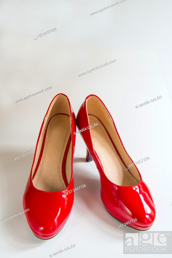 Stock Photo: Pair of red high heel shoes.