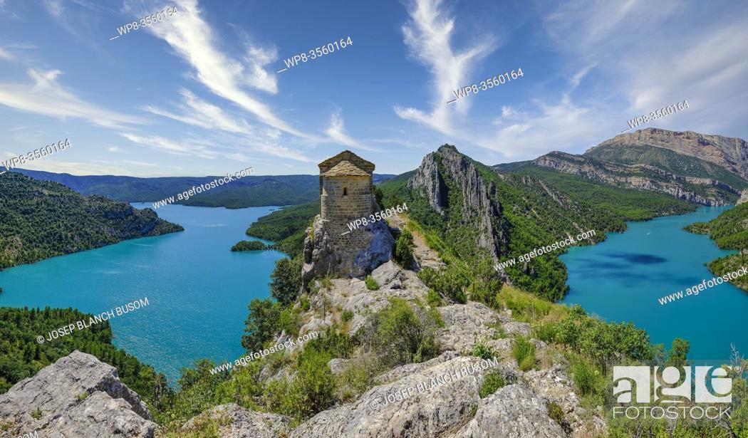 Stock Photo: Chapel of La Pertusa in Ã. ger, Lleida, Spain, perched over the Canelles reservoir.