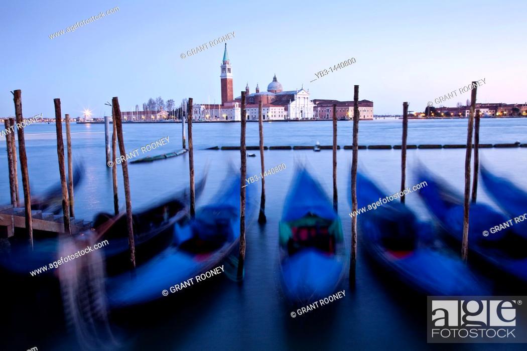 Stock Photo: Gondolas off St Marks Square, Venice, Italy.