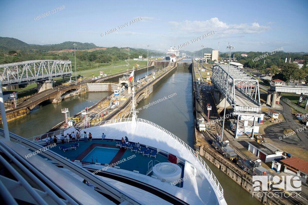 Stock Photo: Miraflores Locks. Panama Canal. Panama. Central America.