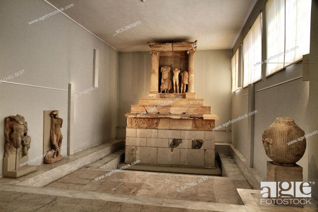 Stock Photo: Pireus Museum, room with Grave monument of Nikeratos and his son Polyxenos, metics from Istros on the Black Sea coast. This unique temple-like grave monument.