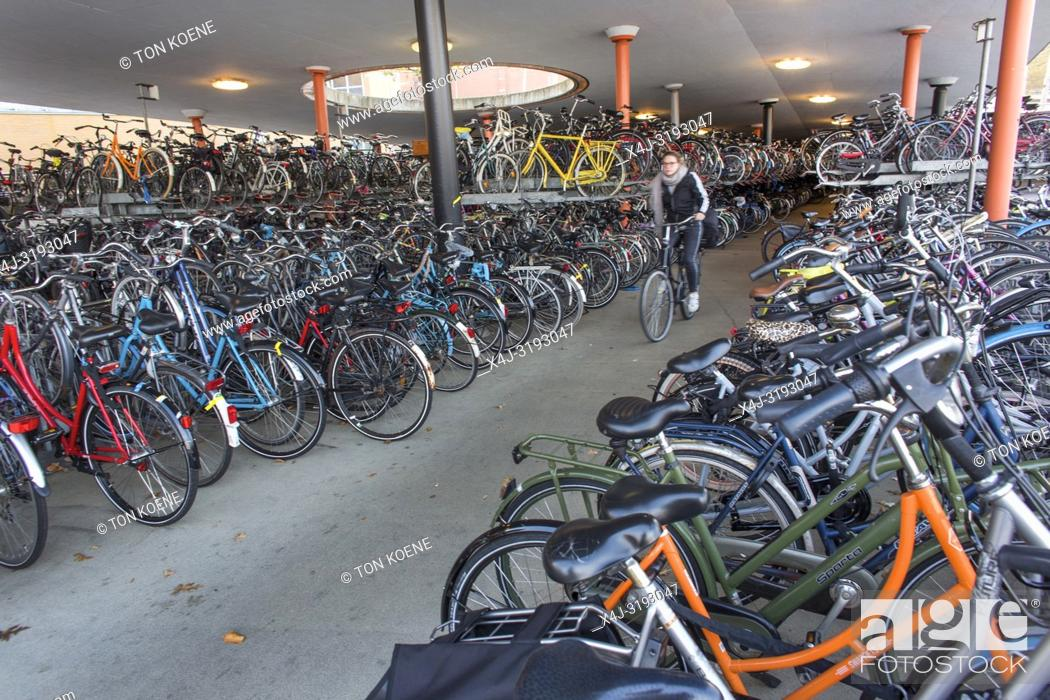 Stock Photo: Bicycle parking in Groningen central train station.