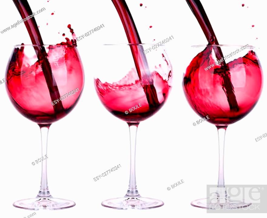 Stock Photo: full and empty red wine glass against a white background.