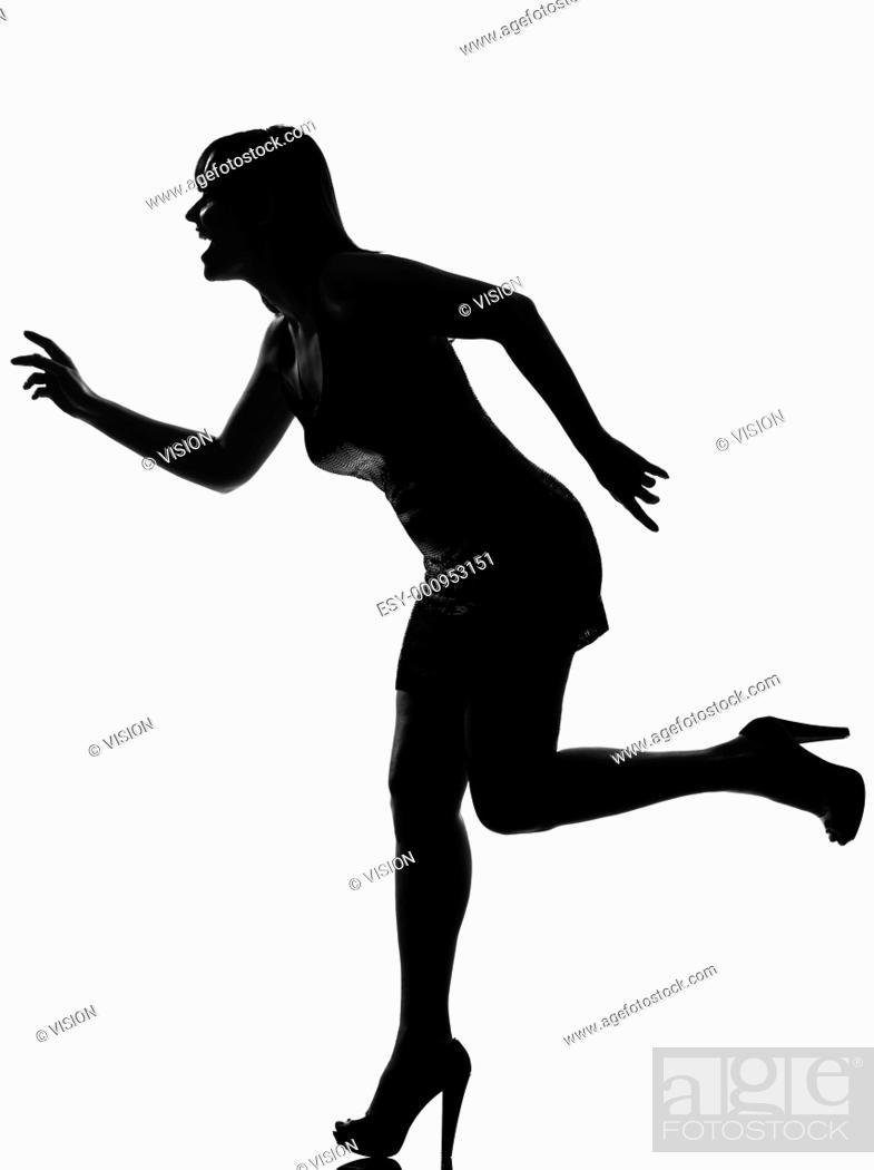 Stock Photo: stylish silhouette caucasian beautiful woman running happy full length on studio isolated white background.