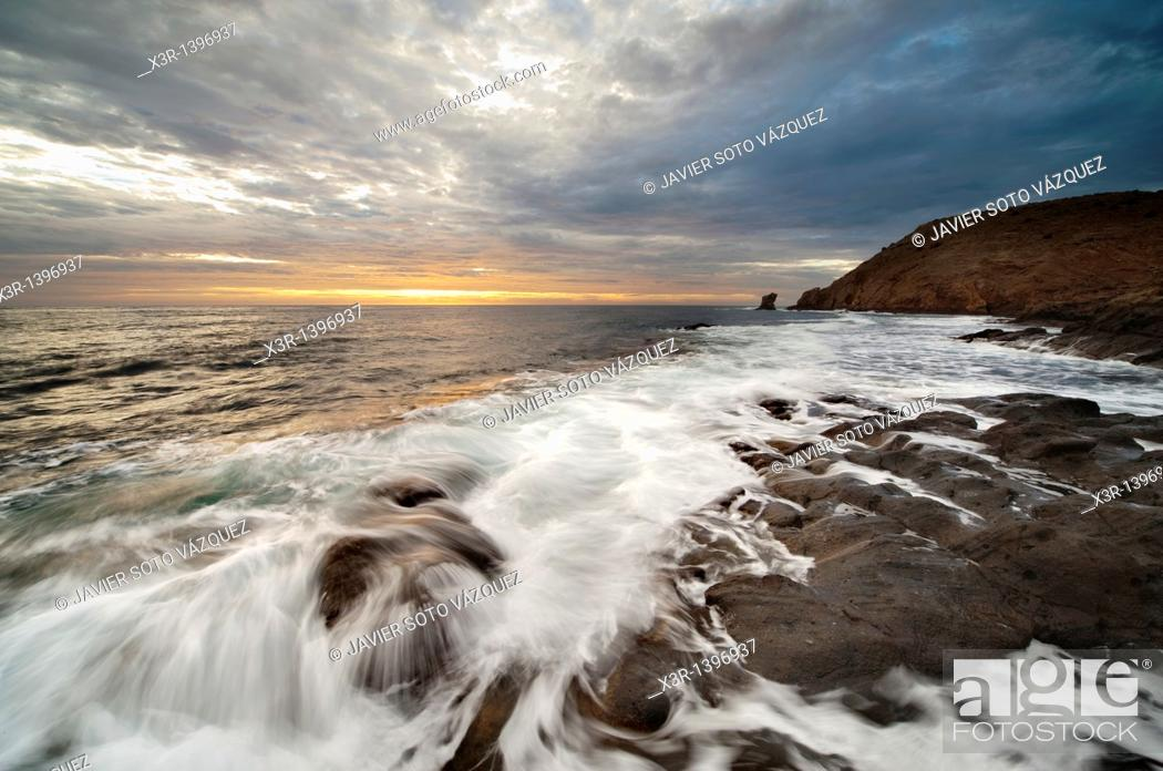 Stock Photo: Sunset on the coast of the natural park of Cabo de Gata, Almeria.