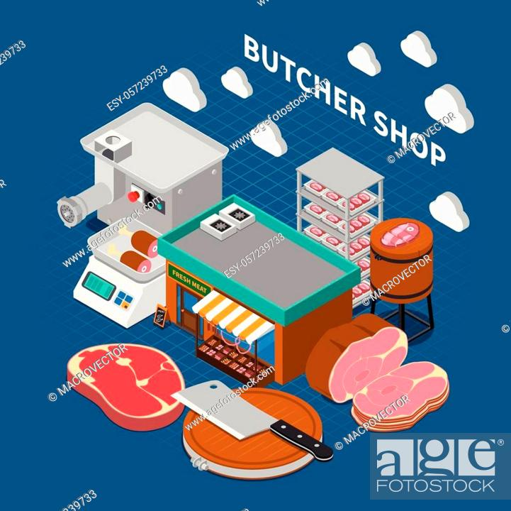 Stock Vector: Butchery sausage shop isometric composition with composition of grocery store outdoor images with text and icons vector illustration.
