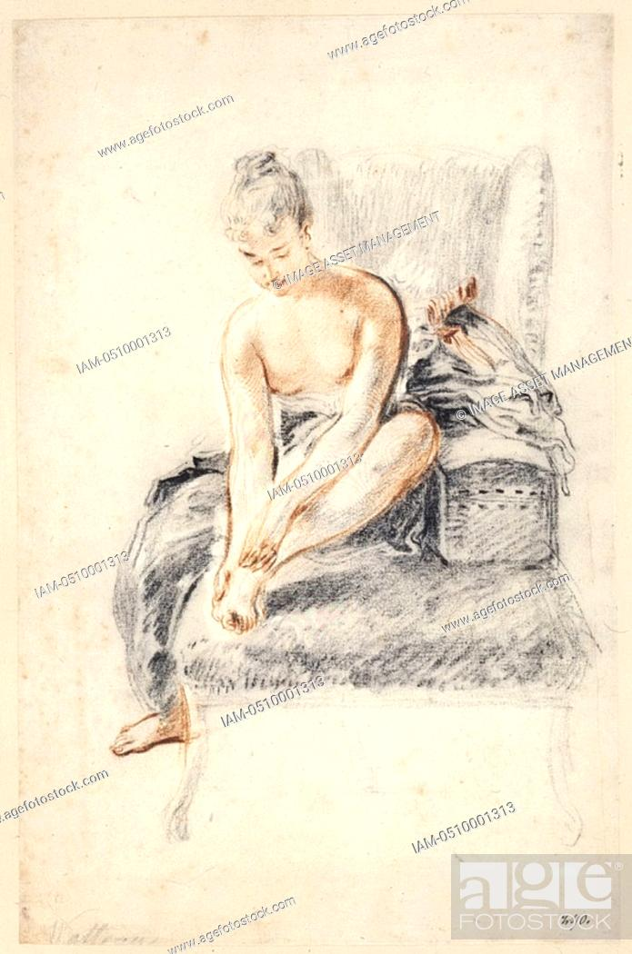Stock Photo: Jean Antoine Watteau 1684-1721 French artist, semi-nude female seated.