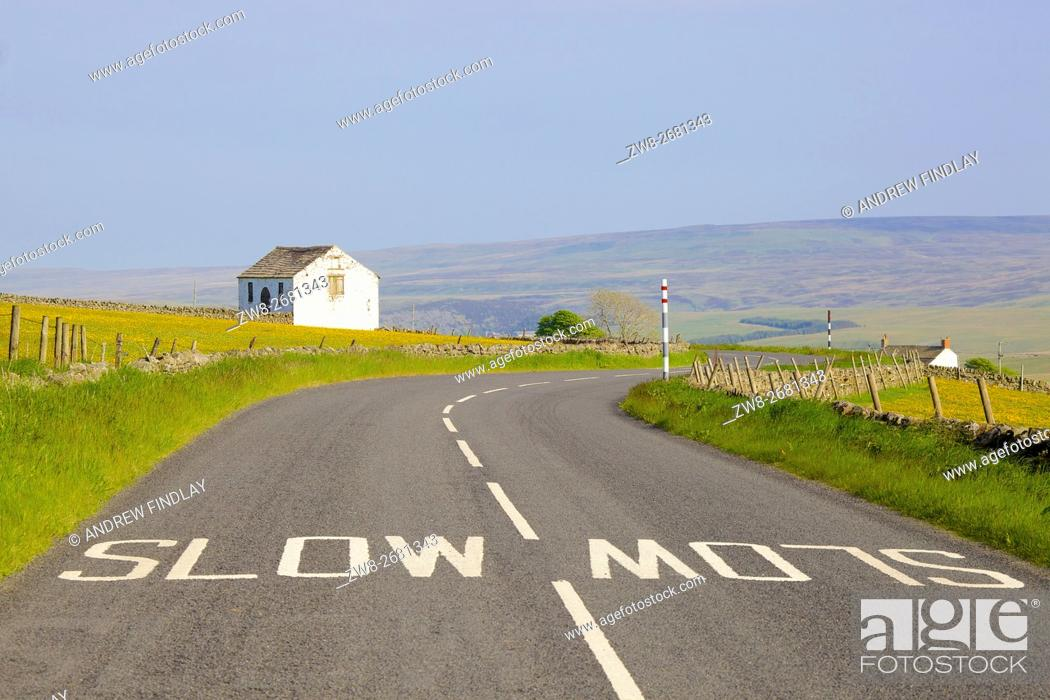 Stock Photo: White slow painted sign on B6277 road, barn in flower meadow. Forest in Teesdale, North Pennines, Durham Dales, County Durham, England, United Kingdom, Europe.