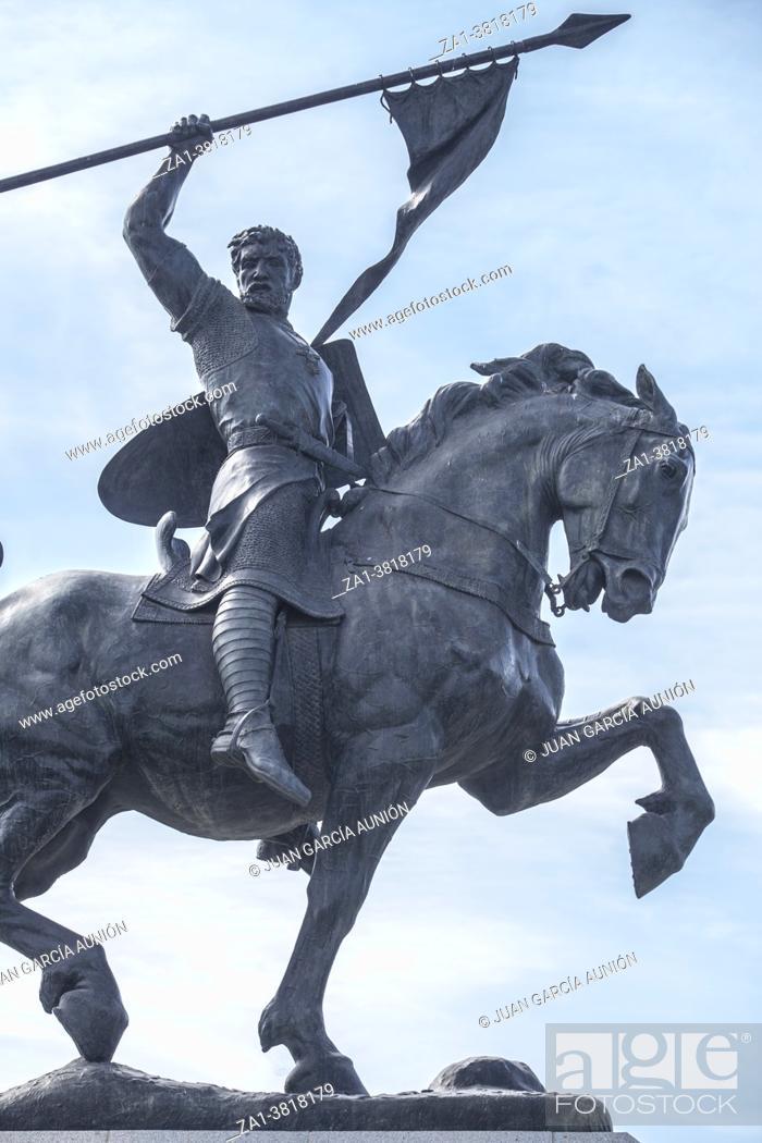 Stock Photo: Seville, Spain - Sept 27th 2020: El Cid Campeador equestrian Statue. Sculpted by Anna Hyatt Huntington in 1927.