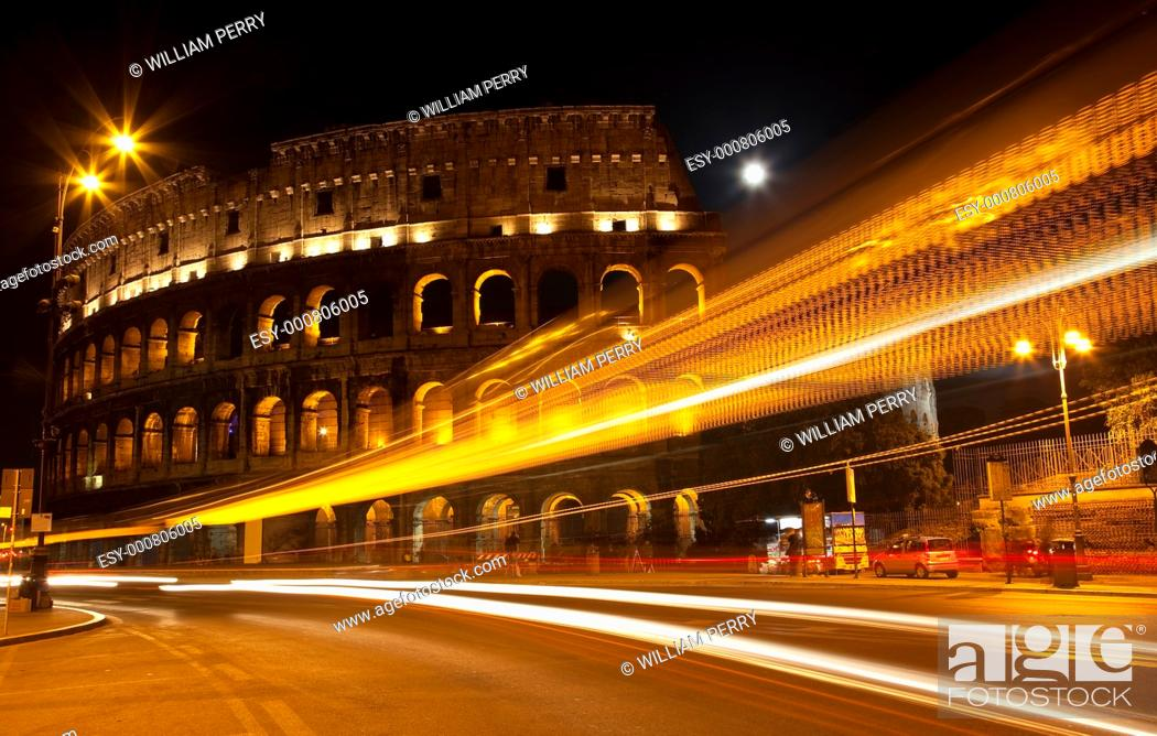 Stock Photo: Colosseum Modern Street Abstract Night Moon Time Lapse Rome Italy Built by Vespacian.