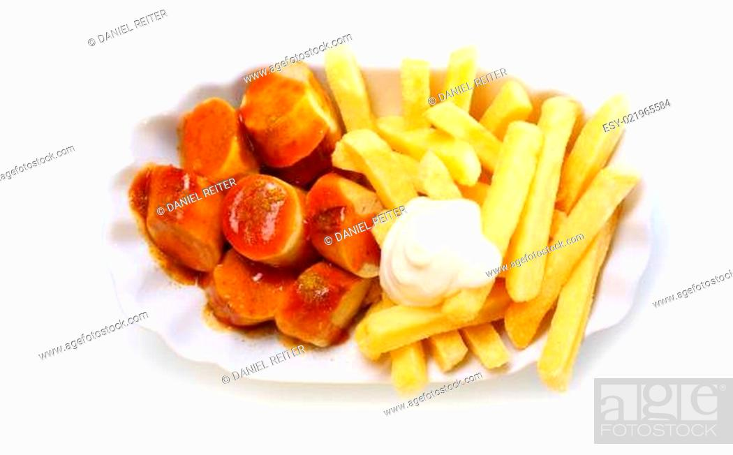Stock Photo: Smoked sausage and golden French fries.