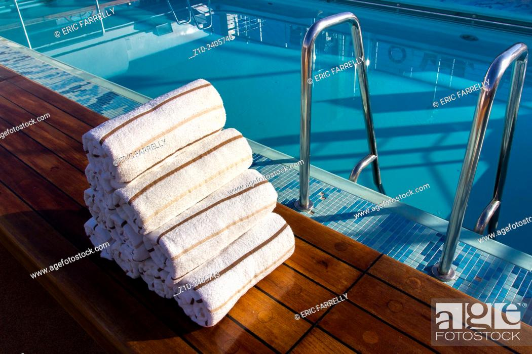 Prepared towels next to Swimming Pool. Cunard Liner Queen ...