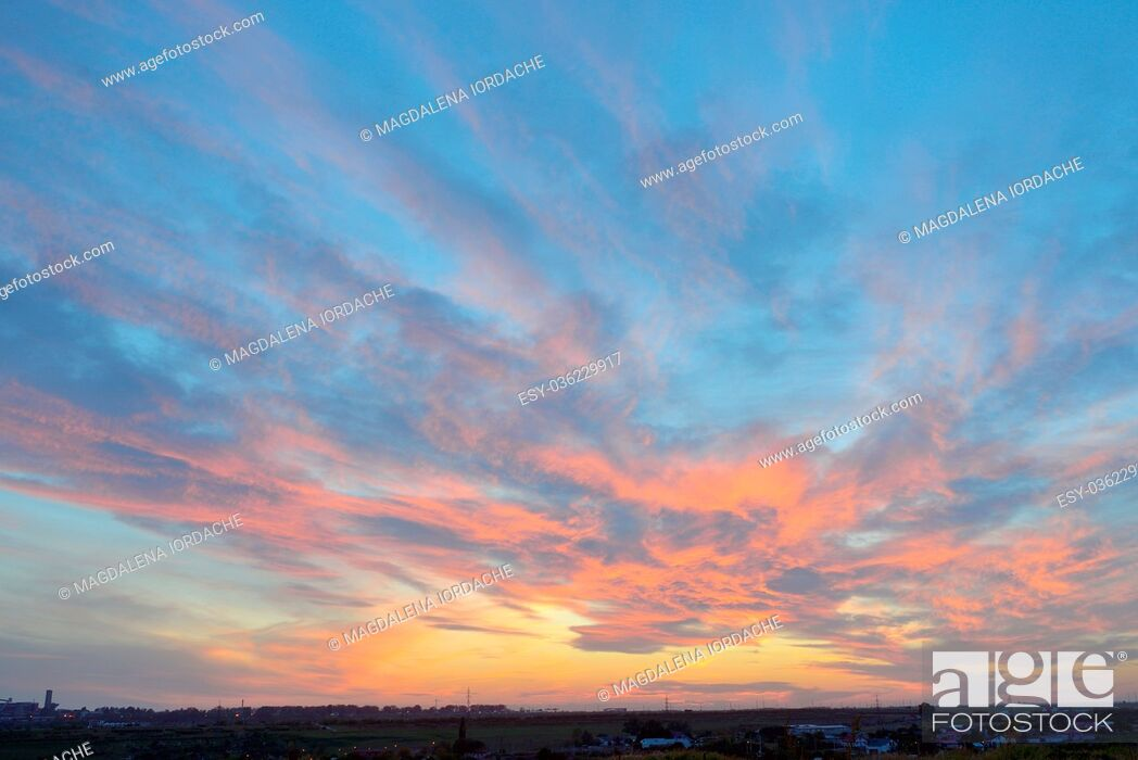 Stock Photo: Colorful sky texture at sunset in summer time.