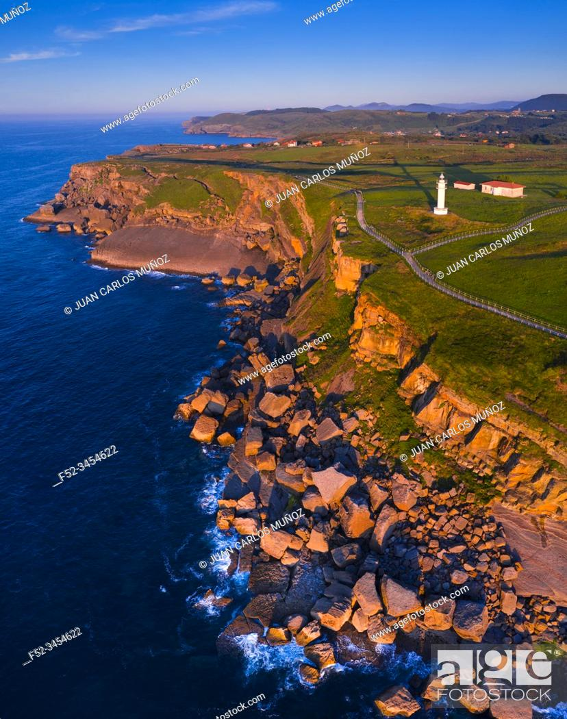 Stock Photo: Aerial View, Ajo Lighthouse, Ajo, Bareyo Municipality, Cantabria, Cantabrian Sea, Spain, Europe.