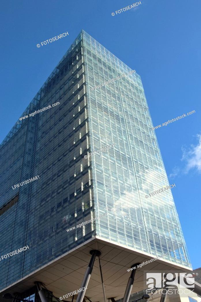 Stock Photo: All-steel glass residential building.