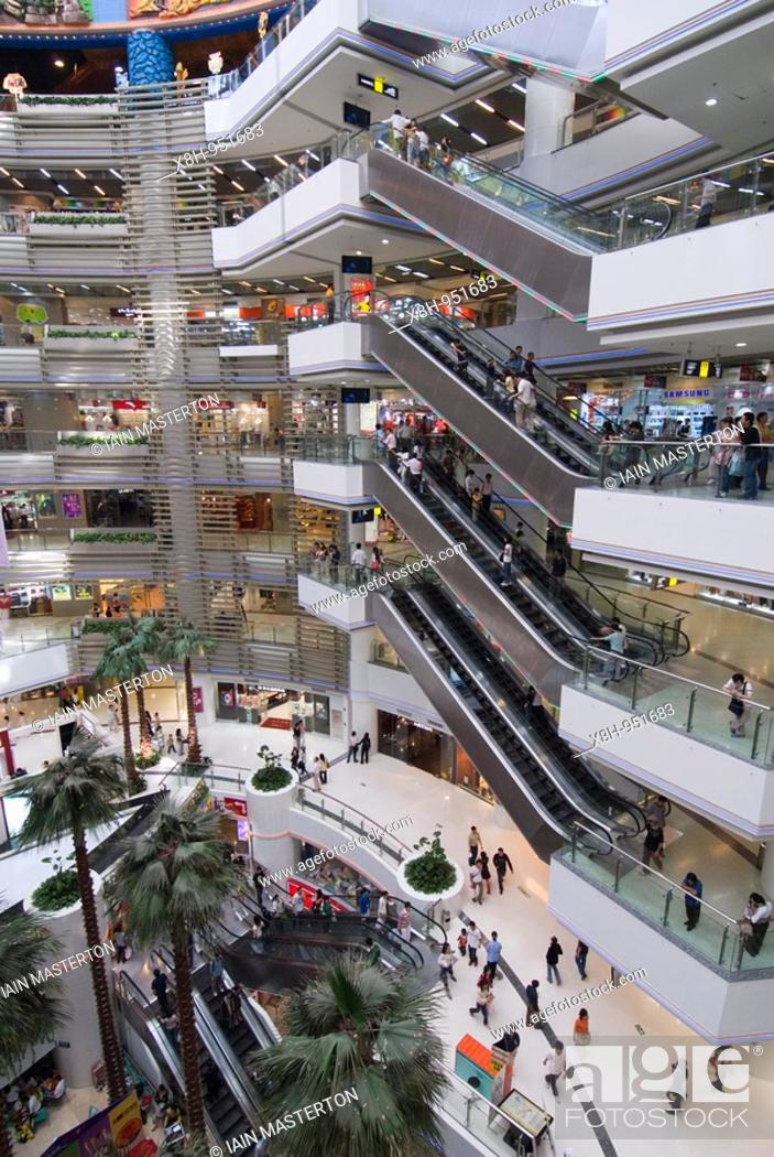 Stock Photo: Interior of large modern shopping mall in Guangzhou China.