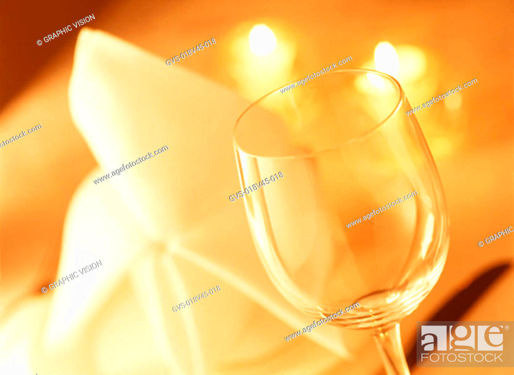 Stock Photo: Close Up of Wineglass and Serviette.