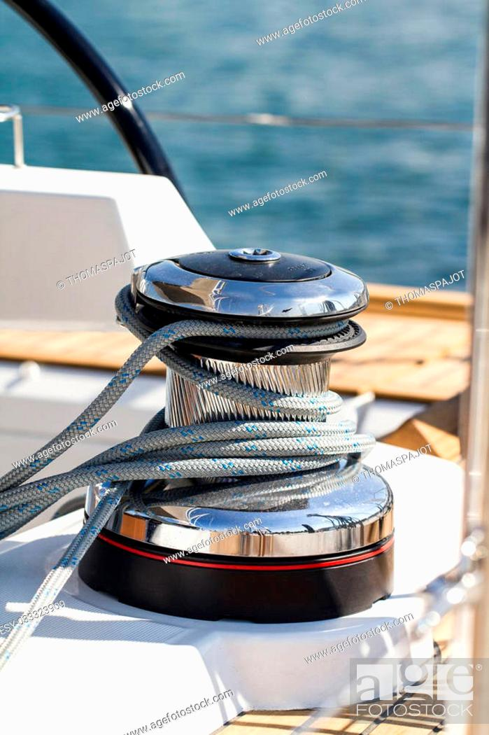 Stock Photo: Rope around the capstan on a sailboat.
