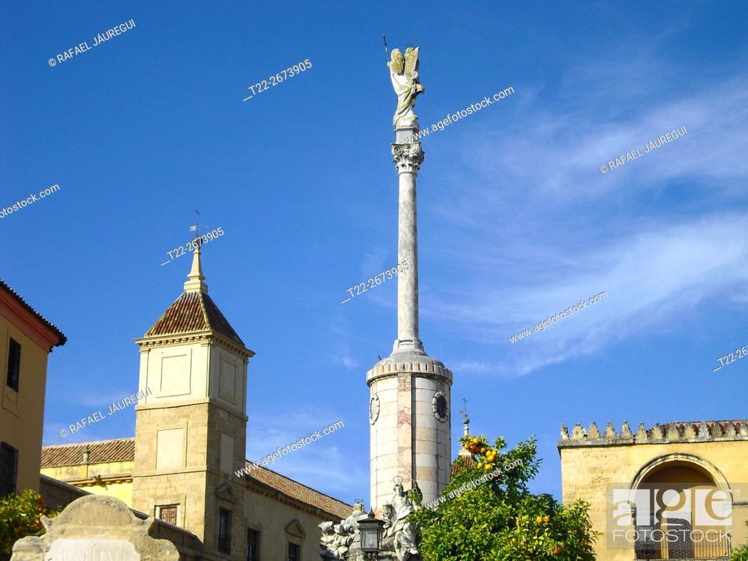 Stock Photo: Cordoba (Spain). Triumph of San Rafael near the Mosque of Cordoba.